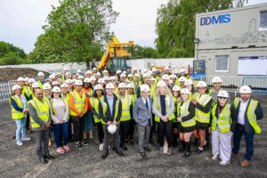 Supporters celebrate the start of construction at East Manchester's HideOut Youth Zone